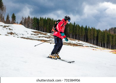 BUKOVEL, UKRAINE, March 06, 2017: snowboarder on a training slope in Bukovel, the Carpathians UKRAINE March 06 2017