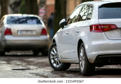 Bukovel, Ukraine - November 27, 2017: Close-up view of a new modern car parked on the side of the street