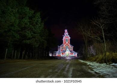 The Buksnes Church in Lofoten at night.