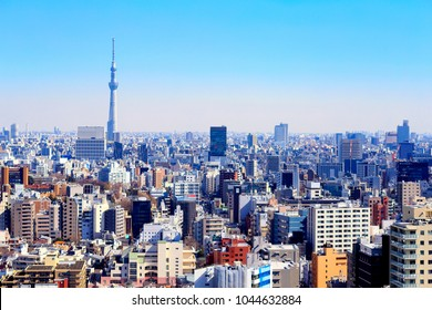Bukyo,Tokyo,Japan - February 14, 2018:View of Tokyo Sky Tree and Tokyo: Tokyo Sky Tree is the highest free-standing structure in Japan.