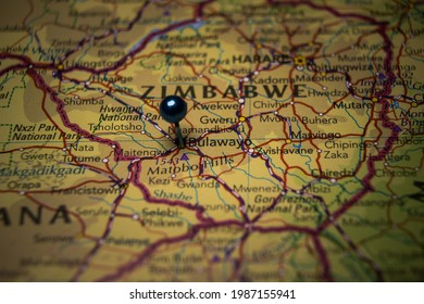 Bulawayo, the city in Zimbabwe pinned on geographical map