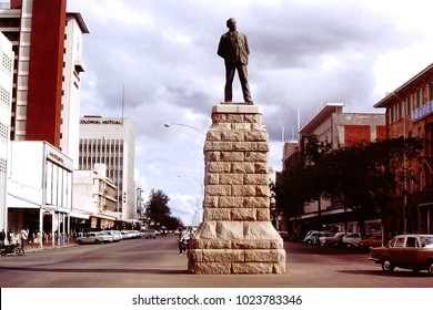 Bulawayo, Rhodesia (Zimbabwe). August 1980. A view of the statue of Cecil Rhodes in the city centre.