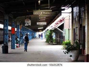 Bulawayo, Zimbabwe -  05 Apri, 2015: The platform of  Bulawayo`s railway station, Zimbabwe.
