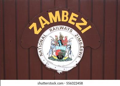 """Bulawayo, Zimbabwe -  05 Apri, 2015: The sign logo """" Zambezi National Railways Zimbabwe"""" at the Bulawayo`s railway station."""