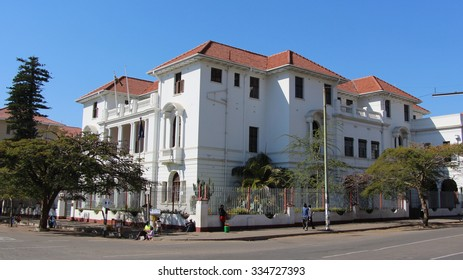 Bulawayo, Zimbabwe. August 10th 2015. The Bulawayo Gentleman's Club on 8th Ave and Fort Street has stunning Colonial architecture. Founded in 1895 it is said to have been frequented by Cecil Rhodes.