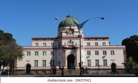 Bulawayo, Zimbabwe. August 10th 2015. The High Court of Bulawayo located at the top of 8th Ave was established in 1889 and is a fine example of British Colonial architecture.