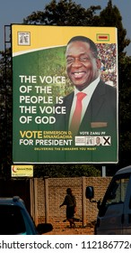 Bulawayo, Zimbabwe. June 26th 2018. Election billboards show ZANU PF candidate, the current president Emmerson D. Mnangagwa who is widely tipped to win the July 30th national election this year.