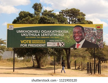 Bulawayo, Zimbabwe. June 26th 2018. Election billboards show ZANU PF candidate, the current president Emmerson D. Mnangagwa who is widely tipped to win the July 30th election this year.