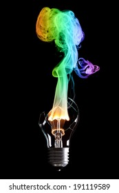 bulb exploding with fire and smoke of colors