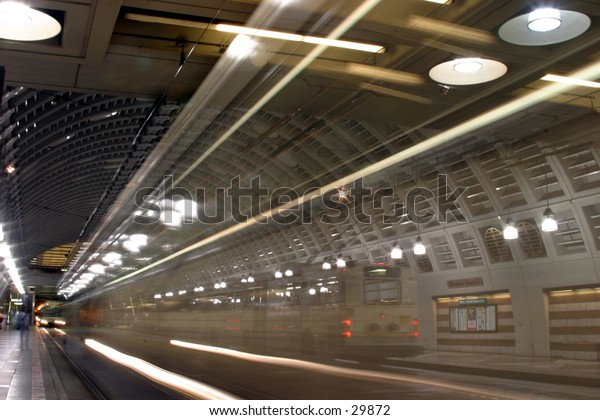 Bulb Exposure) of head lights of a metro bus going through a tunnel
