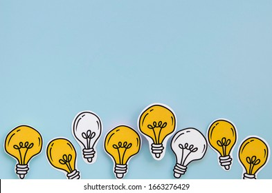 Bulb idea concept with blue background - Image