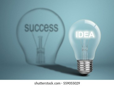 Bulb with idea and shadow with success, business concept