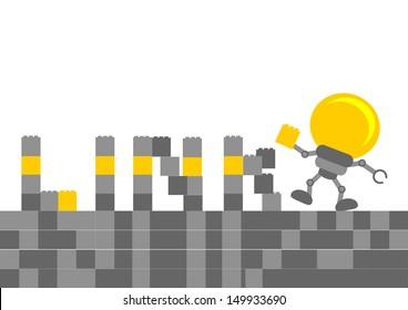 bulb lamb cartoon character with business activity