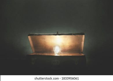 bulb light comes out of a mysterious open suitcase, concept of idea and invention