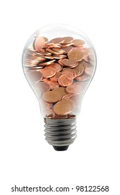 bulb with money, isolated on white