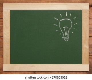 bulb on blackboard