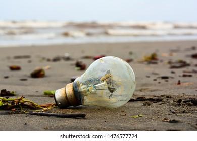 Bulb on the sand of beach