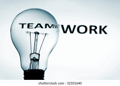 bulb and teamwork text showing concept of teamwork team and help in business