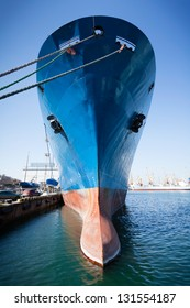 bulbous bow ship moored towering