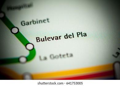 Bulevar del Pla Station. Alicante Metro map.