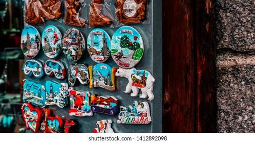 Bulgaria, Bansko - May 19, 2019: A shop case with a variety of souvenir magnets, ski resort Bansko.