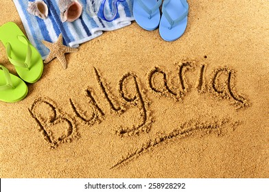 Bulgaria beach, writing in sand