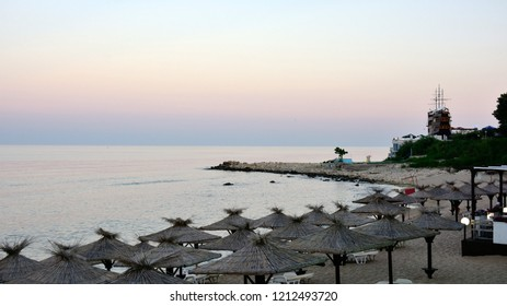 Bulgaria. The beaches of the town of St. Constantine and Elena in sunset milk