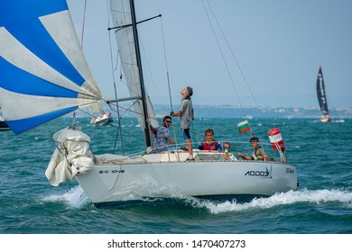 BULGARIA, BURGAS - JULY 31, 2019: XXVI International Regatta Port Bourgas - Bulstrad Cup. The Regatta took place in the Burgas Bay. 26th edition of the annual sailing venue.  The competition includes