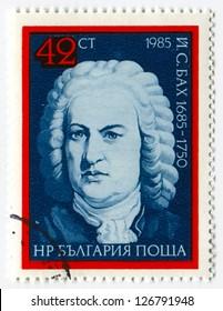 BULGARIA - CIRCA 1985: Postage stamps printed in Bulgaria dedicated to Johann Sebastian Bach (1685-1750), German composer, organist, harpsichordist, violist, and violinist, circa 1985.