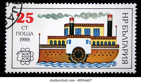 BULGARIA - CIRCA 1988: A stamp printed in Bulgaria shows steamship, circa 1988