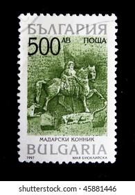 BULGARIA  - CIRCA 1997: A stamp printed in Bulgaria shows Madara Horseman, circa 1997