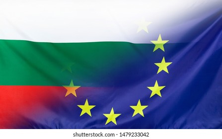 Bulgaria and European Union relations concept with diagonally merged real fabric flags