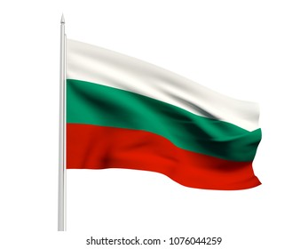 Bulgaria flag floating in the wind with a White sky background. 3D illustration.