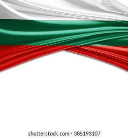 Bulgaria flag of silk with copyspace for your text or images and white background