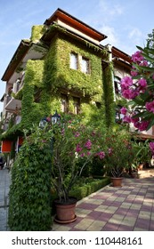 Bulgaria. Resort Solar coast, Nesebor. City streets. Houses in flowers