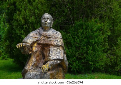 Bulgaria, Rupite  - May 8, 2017: Baba Vanga's sculpture in the memorial park. The famous place where the Bulgarian medium Baba Vanga lived and work.