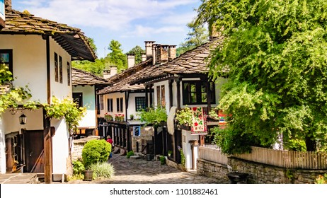 Bulgaria shopping street in Etar village in Gabrovo province