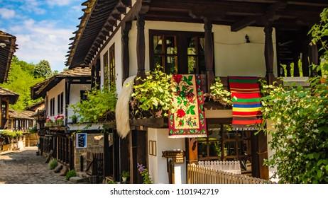 "Bulgaria shopping street in Etar village in Gabrovo province. Translation: "" weaving workshop 2nd floor."" by Boyan Georgiev"