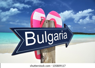 BULGARIA sign on the beach