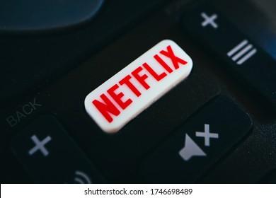 Bulgaria, Sofia - 1 March 2020: Netflix button on a remote controller.