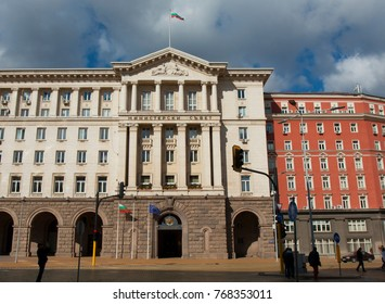 BULGARIA,  SOFIA - OCTOBER 08, 2017: building of Ministry Council on Independence square, built in 1957 year.