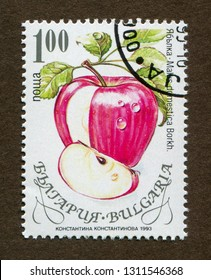 Bulgaria stamp no circa date: A stamp printed in Bulgaria shows apple illustration.
