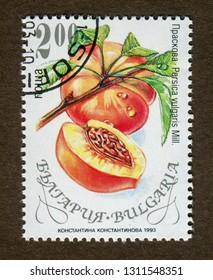 Bulgaria stamp no circa date: A stamp printed in Bulgaria shows peach illustration.
