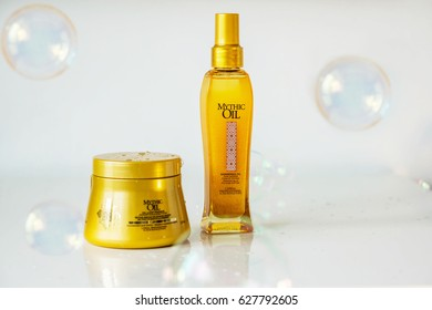 Bulgaria Varna - 21.04.2017 hair products, Mythic Oil Loreal Professionnel - mask and shiny hair oil. Hair Care. Bubble soap bubbles. Concept fashion and crate.