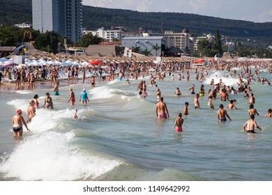Bulgaria, Varna Golden Sands beach - JULY 30,2018, Golden Sands beach on the northern Black Sea. It is situated 18km northeast of Varna