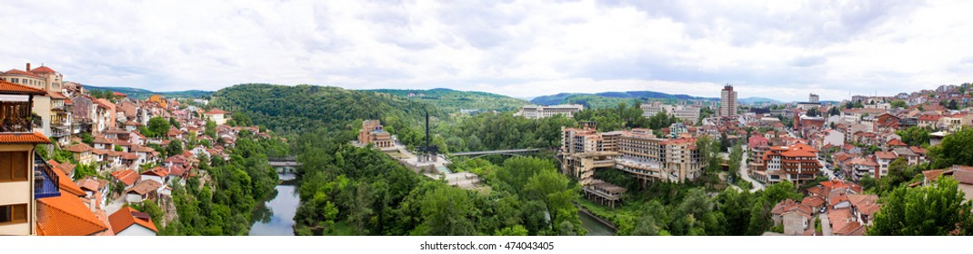 Bulgaria. Veliko Tarnovo panorama. Houses on the slopes
