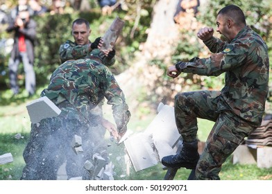 Bulgarian 68 - Special forces  parachute brigade, performing demonstration on it`s celebration. Sofia, Bulgaria. 18.10.2016