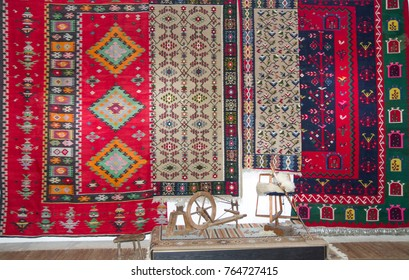 Bulgarian colorful wool carpets in the Chiprovtsi town museum, Bulgaria