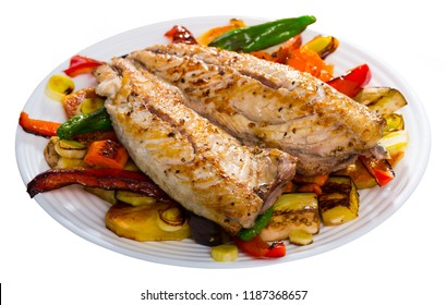 Bulgarian cuisine. Baked vegetables with spicy mackerel (Plakia)  Isolated over white background