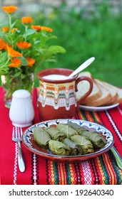 Bulgarian dolmades - Stuffed grape leaves